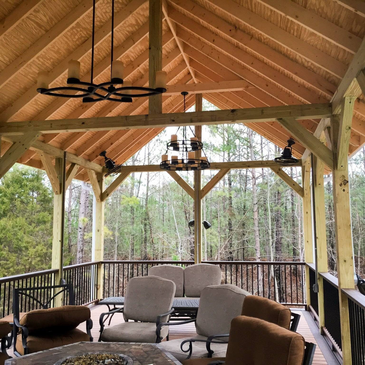 Handcrafted deck roof