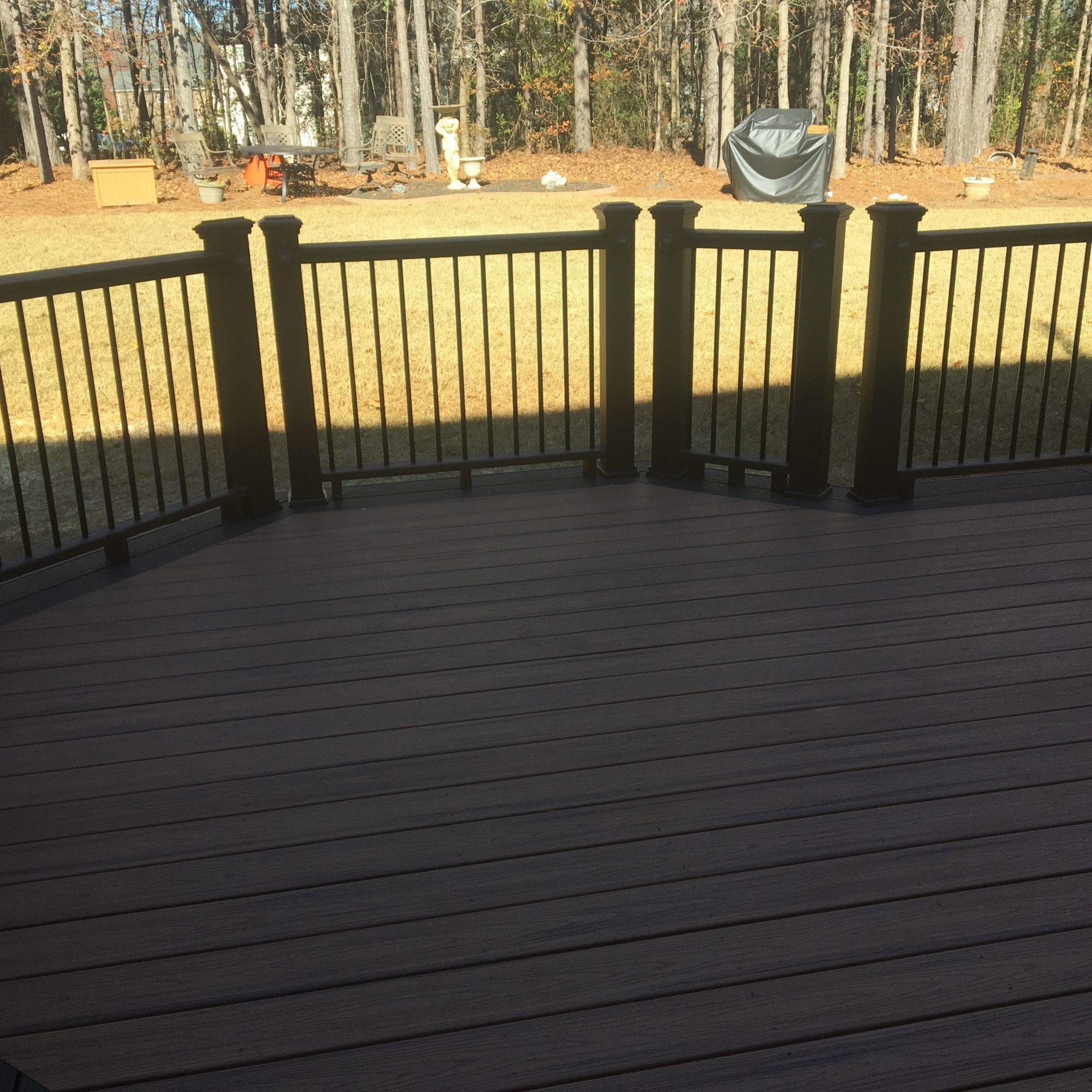 Back porch with railing and pressure treated wood